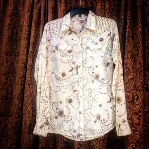 Wrangler snap on cotton shirt organic pattern M